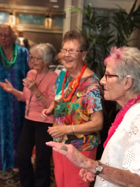 Residents dancing at Luau