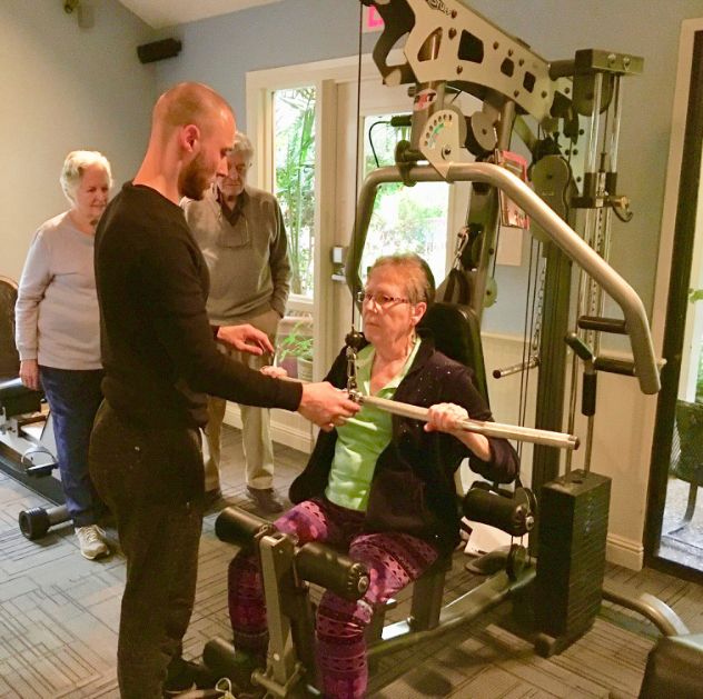 Live 2 Be Healthy Professional Trainer working with residents of The Heritage Downtown in Walnut Creek, California