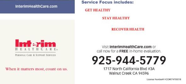 Interim HealthCare Flyer Image in Walnut Creek California