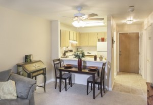 Image of interior living room of one of the senior living apartment homes